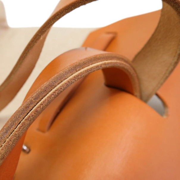 Hermes Tan Leather and Beige Toilea Canvas Herbag MM