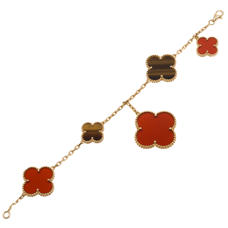Van Cleef & Arpels Magic Alhambra Tiger Eye and Red Carnelian Yellow Gold Bracelet