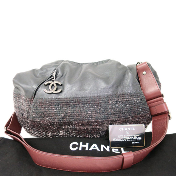 Chanel Black And Burgundy Leather and Tweed Tote