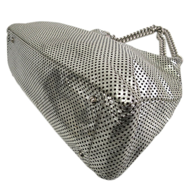 Chanel Grey Metallic Perforated Hobo
