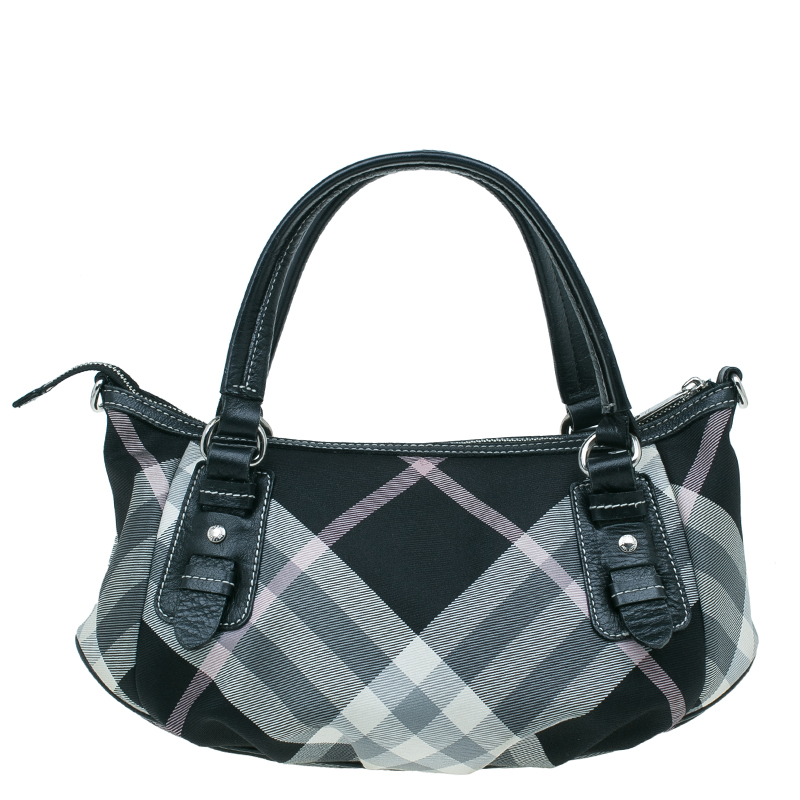 Burberry black pink Nova Check Canvas pleated Tote crossbody bag