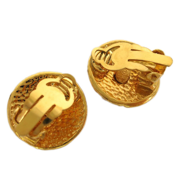 Chanel Vintage CC Button Clip On Earrings