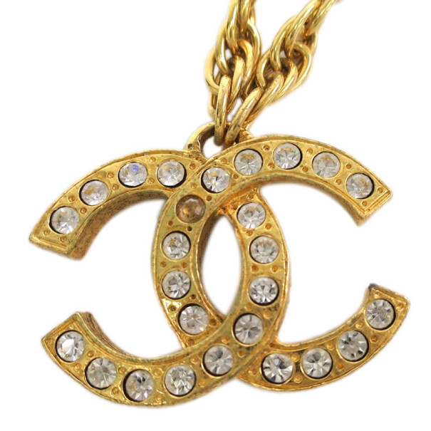Chanel Vintage CC Crystal Large Logo Pendant Necklace