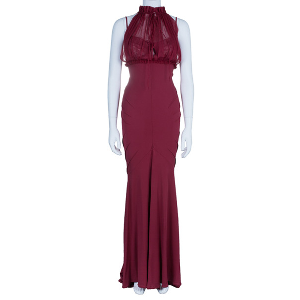 Zuhair Murad Red Silk Halterneck Evening Gown M