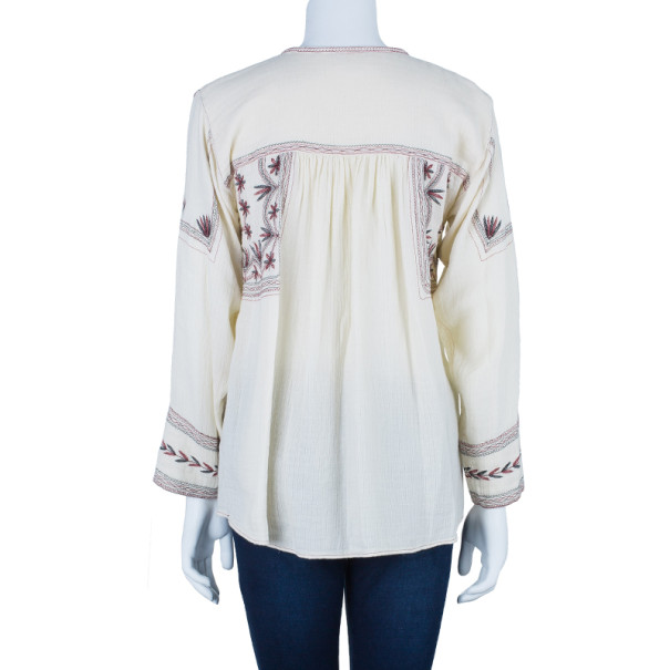 Isabel Marant Vicky Embroidered Cotton Crepe Top XS