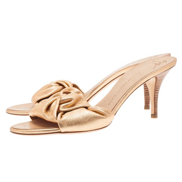 Giuseppe Zanotti Gold Leather Slides Size 41