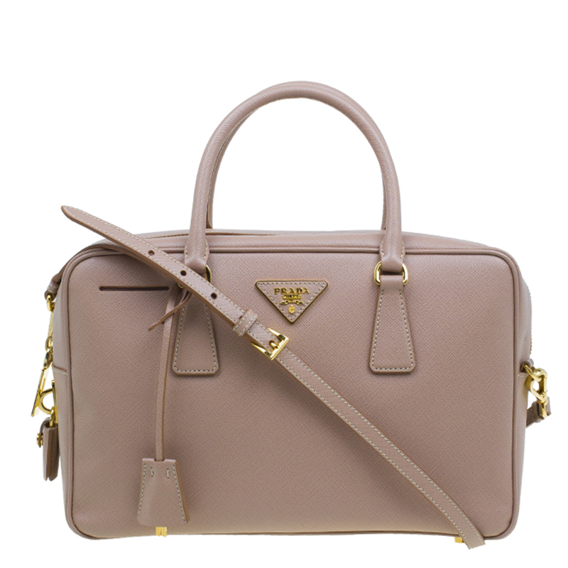 Prada Cammeo Saffiano Lux Leather Top Handle Bauletto Bag
