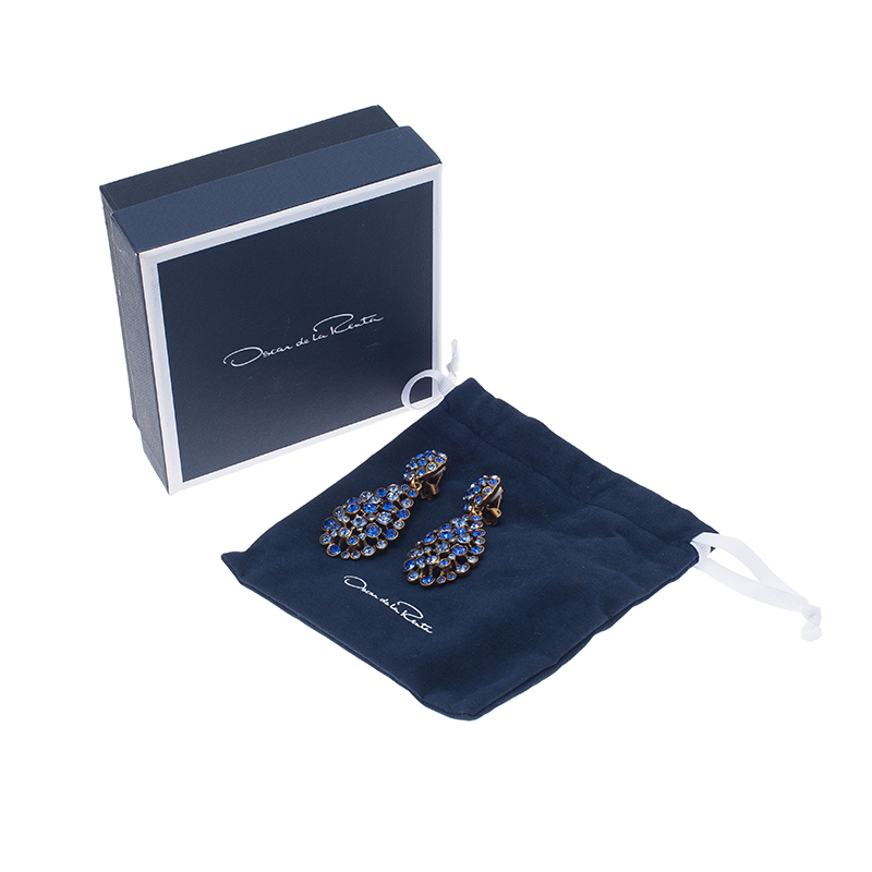 Oscar de la Renta Blue Crystal Tear Drop Clip Earrings