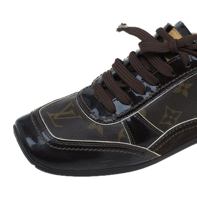 Louis Vuitton Brown Monogram Square Toe Sneakers Size 38.5