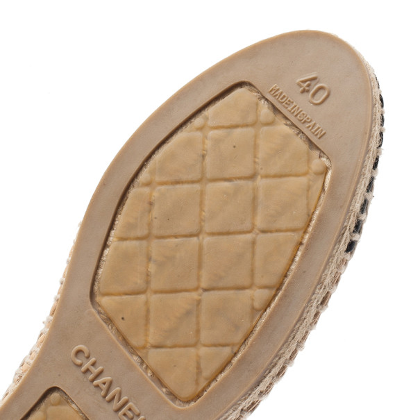 Chanel Beige and Black Leather CC Espadrilles Size 40