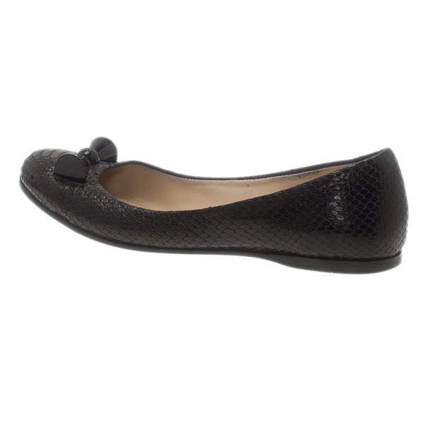 Fendi Black Python Embossed Ballet Flats Size 38.5
