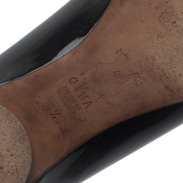 Gina Black Patent Ballet Flats Size 40