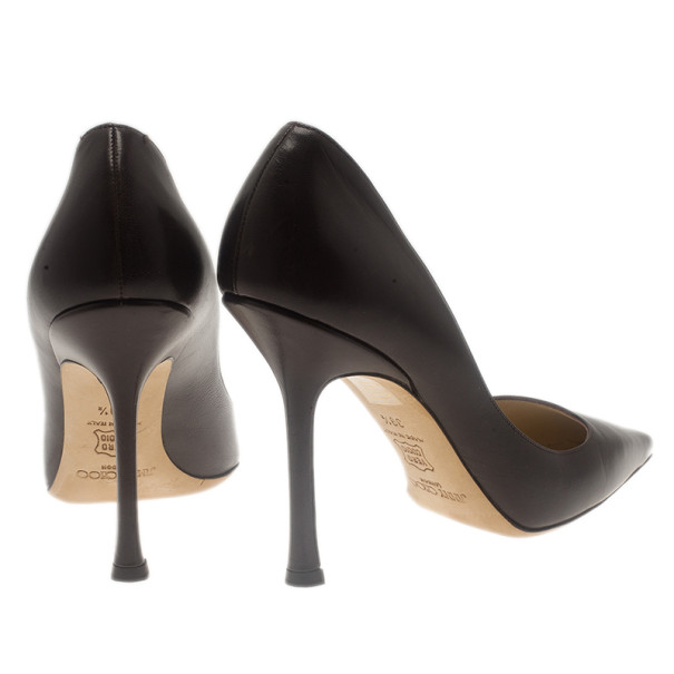 Jimmy Choo Brown Leather Chilli Pointed Toe Pumps Size 39.5