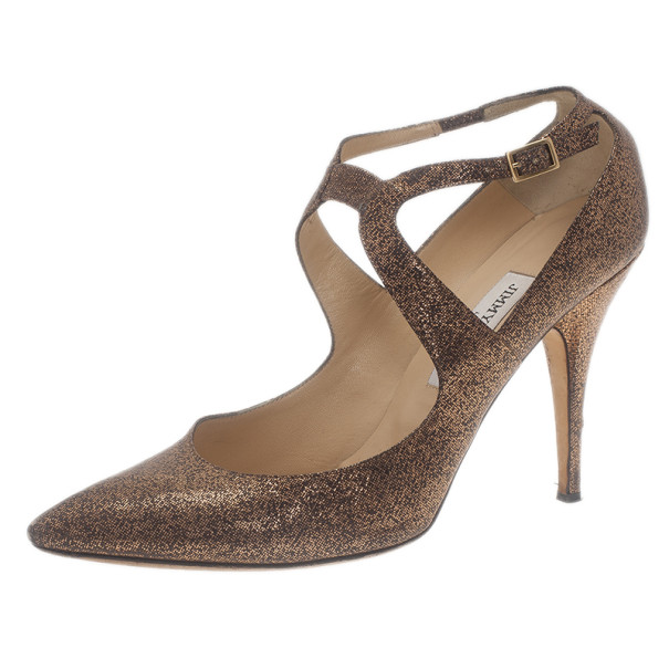 Jimmy Choo Bronze Metallic Leather Ankle Strap Pumps Size 40