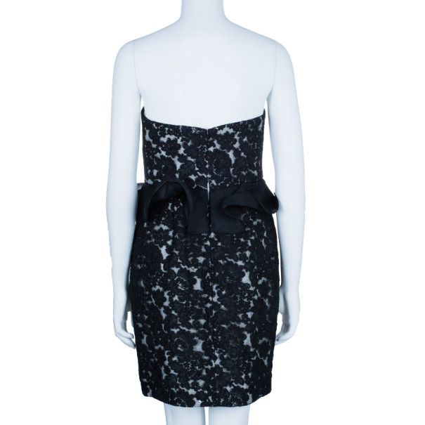 Notte By Marchesa Monochrome Sweetheart Lace Rosette Cocktail Dress M
