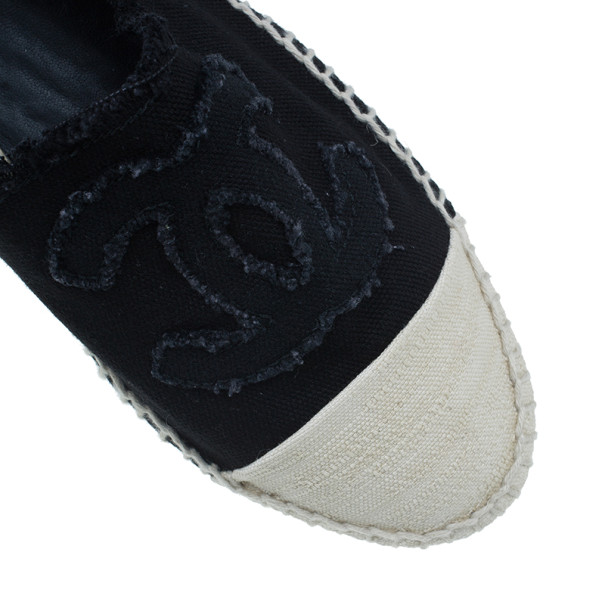 Chanel Black Denim Canvas Espadrilles Size 39