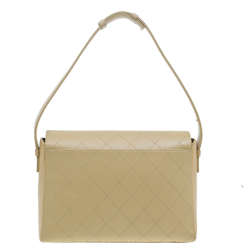 Chanel Beige Quilted Leather Flap Shoulder Bag