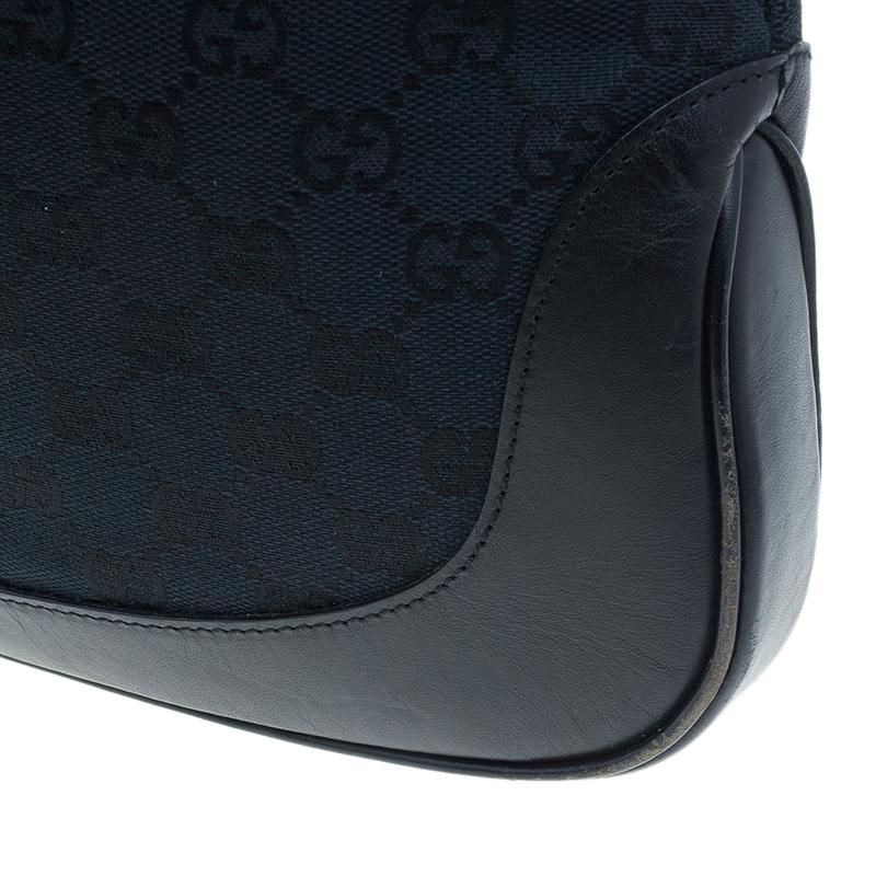 Gucci Black Canvas GG Jackie Hobo