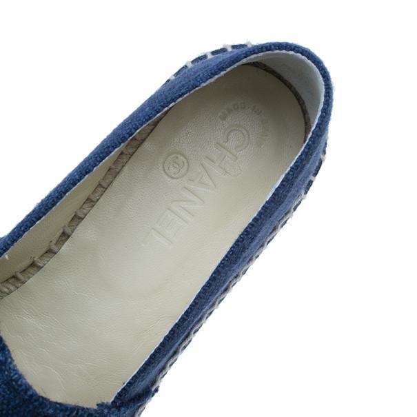 Chanel Blue Denim Canvas Espadrilles Size 40