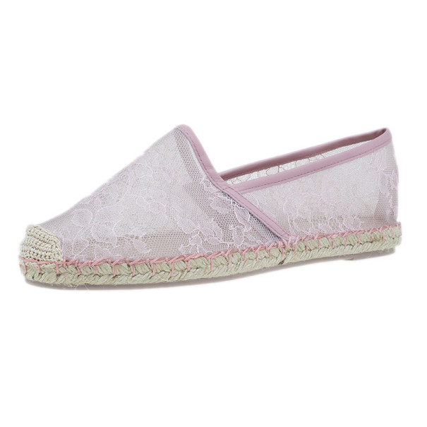 Valentino Pink Lace Espadrilles Size 38