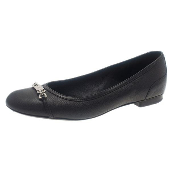 Gucci Black Leather Ballet Flats Size 38