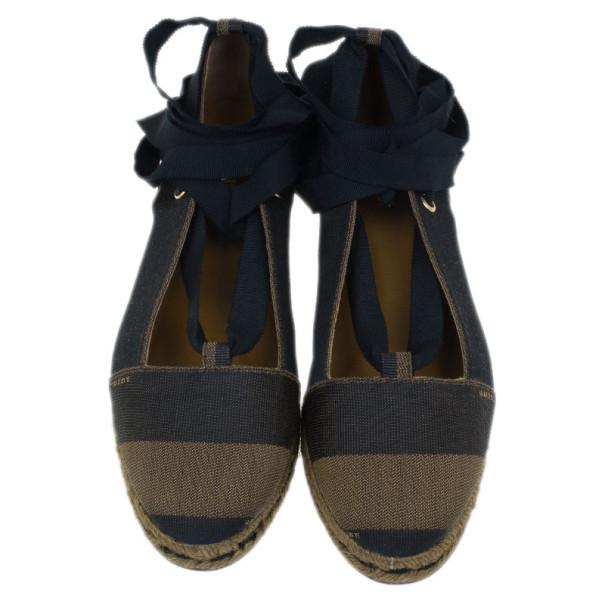 Fendi Brown Pequin Canvas Espadrille Wrap around Ballet Flats Size 38
