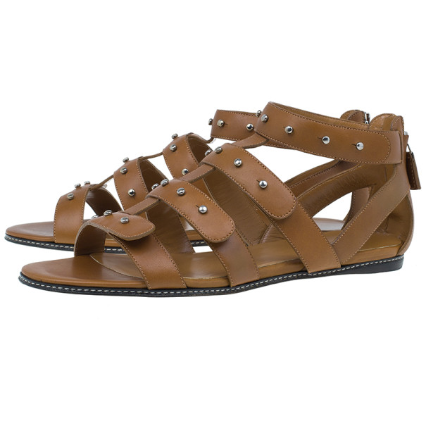 Gucci Brown Leather Studded Sigourney Gladiator Sandals Size 38