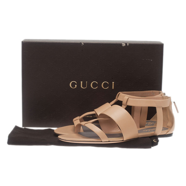 Gucci Beige Leather Belle Flat Gladiator Sandals Size 38