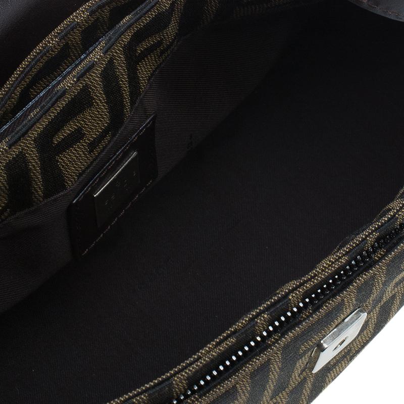 Fendi Brown Tobacco Zucca Long Baguette Shoulder Bag