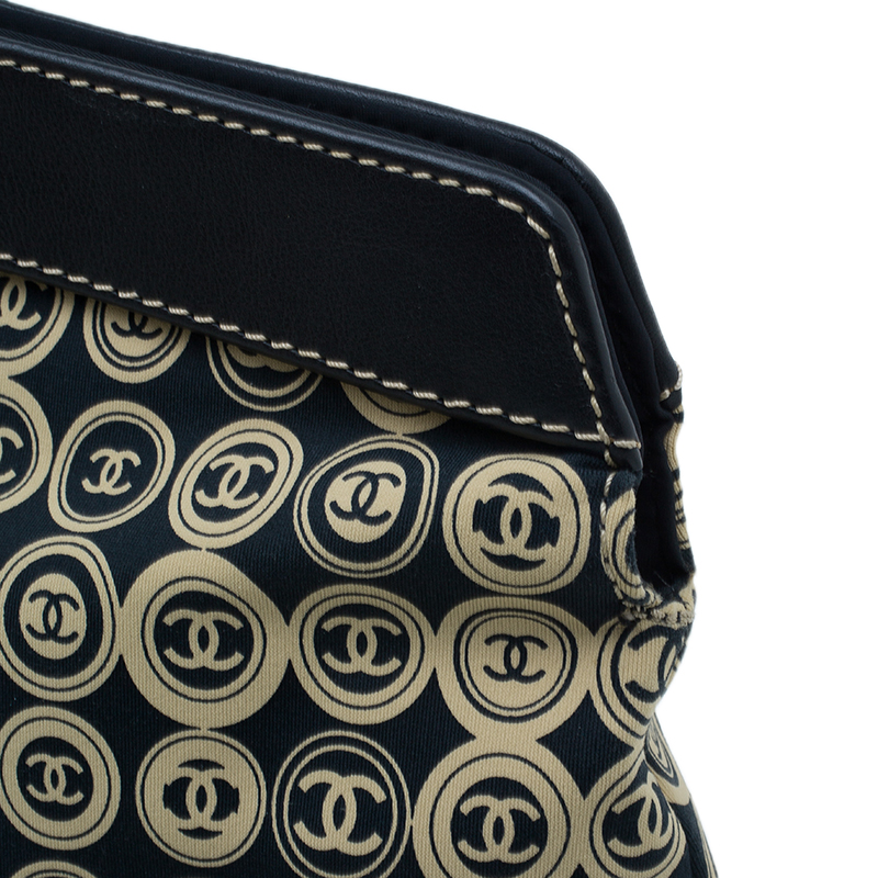 Chanel Black Fabric Vintage CC Logo Tote Bag