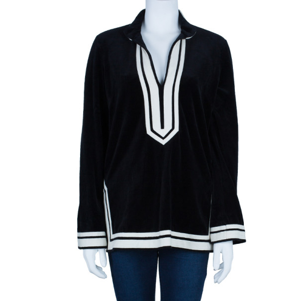 Tory Burch Monochrome Velour Tunic Top S