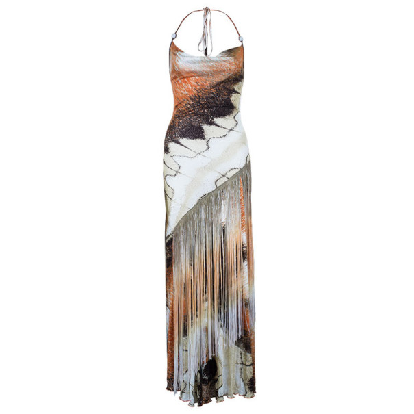 Class by Roberto Cavalli Printed Fringe Maxi Dress M