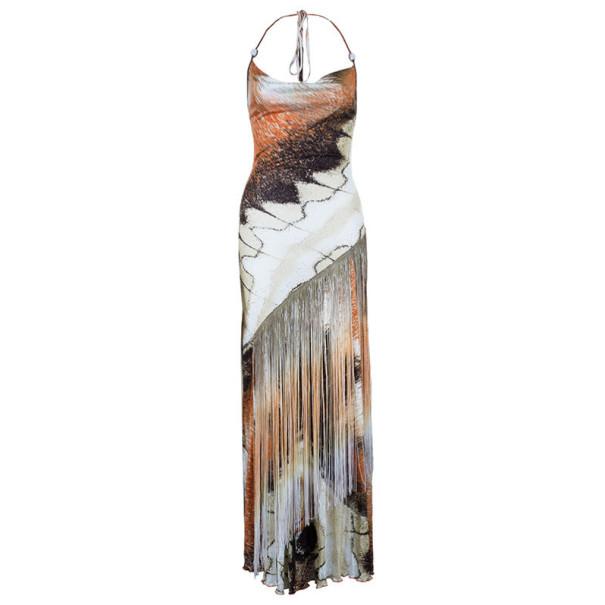 Class by Roberto Cavalli Printed Fringe Maxi Dress M