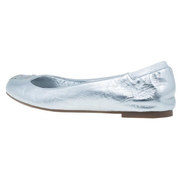 Alexander McQueen Silver Sequin Skull Ballet Flats Size 39