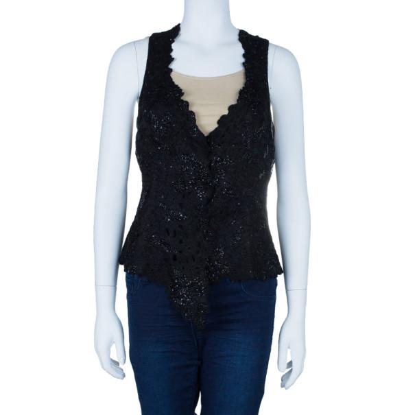 Giorgio Armani Black Embellished Vest Top M