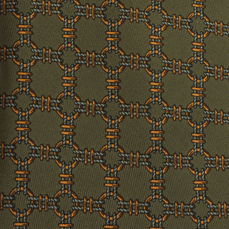Hermes Green Printed Silk Tie
