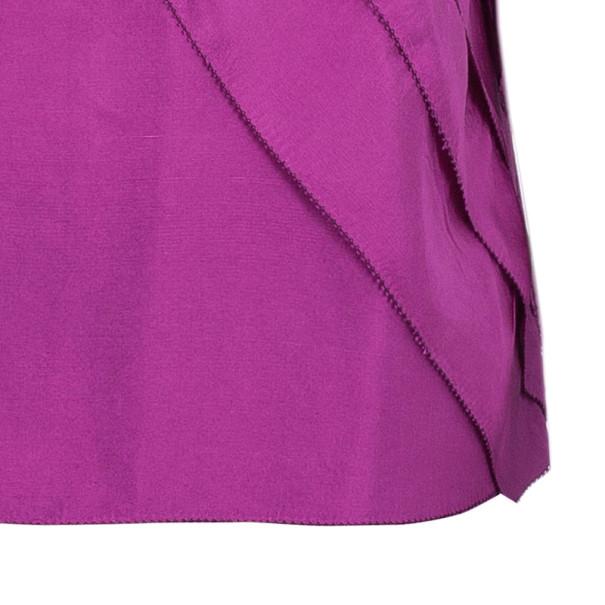 Oscar De La Renta Fuchsia Silk Layered Top M