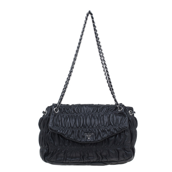 Prada Black Ruched Nappa Leather Chain Detail Shoulder Bag