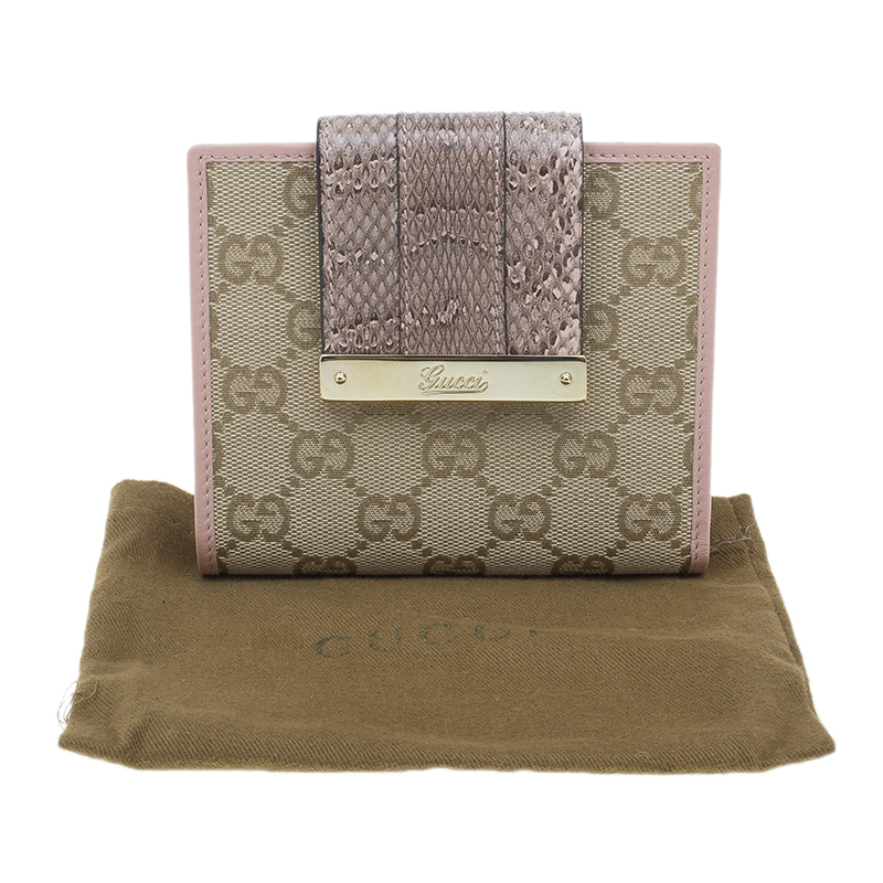 Gucci Pink Guccissima Canvas and Python Flap Compact Wallet
