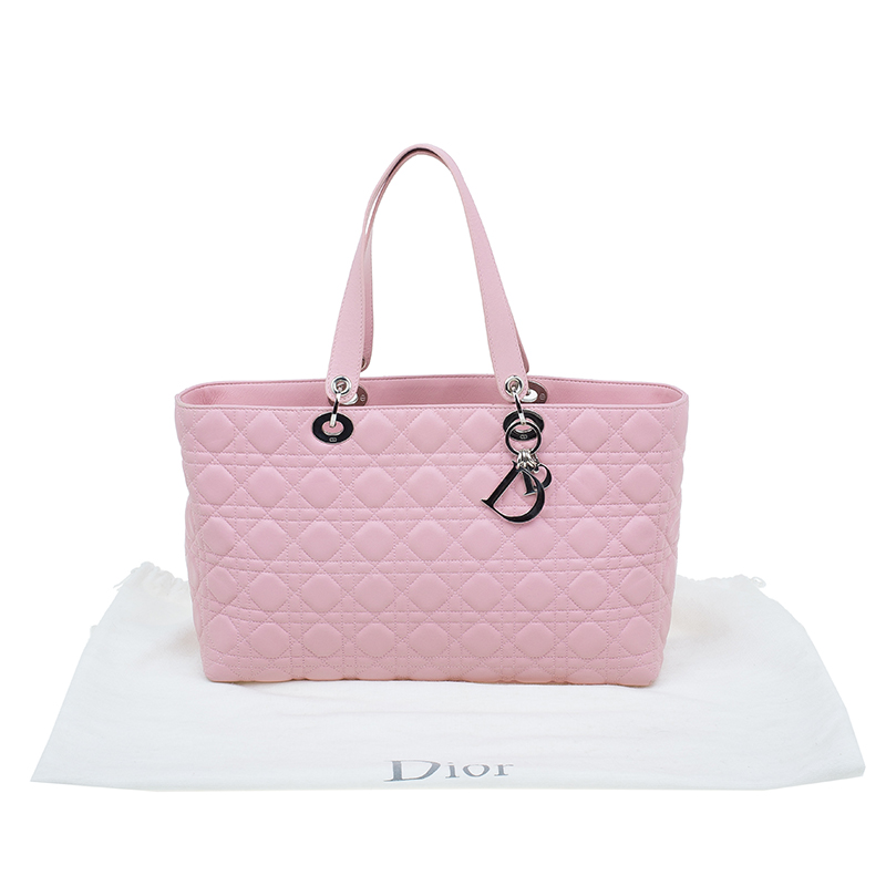 Dior Pink Cannage Quilted Leather Tote Bag