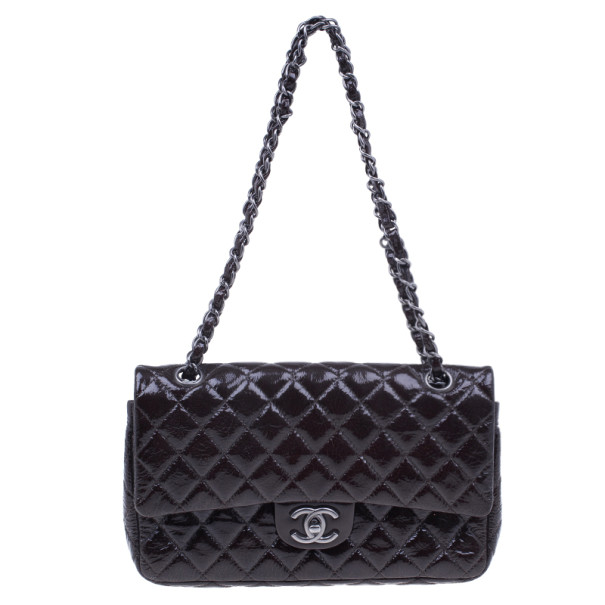 Chanel Brown Quilted Patent Medium Double Flap Bag