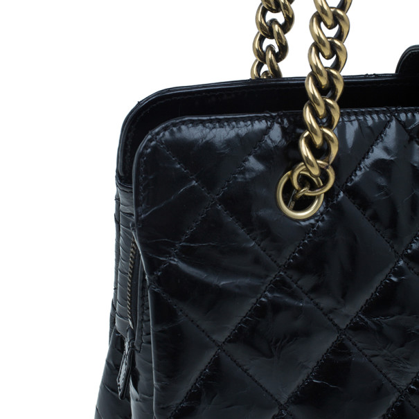 Chanel Black Glazed Cracked Calfskin Leather Tote