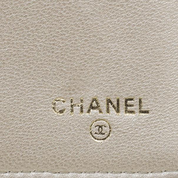 Chanel Pink Lambskin Camellia Flap Wallet