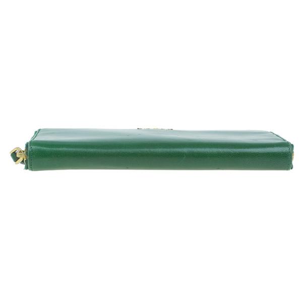 Prada Green Leather Zip Around Continental Wallet