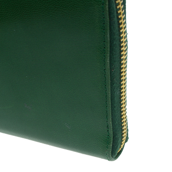 Prada Green Leather Zip Around Continental Wallet