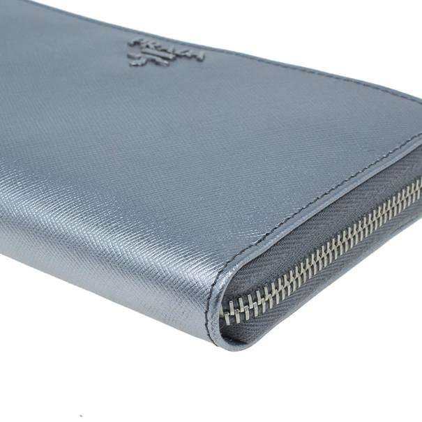 Prada Silver Saffiano Zip Around Continental Wallet