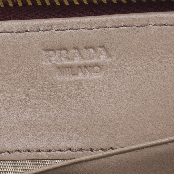 Prada Red Leather Vitello Shine Continental Wallet