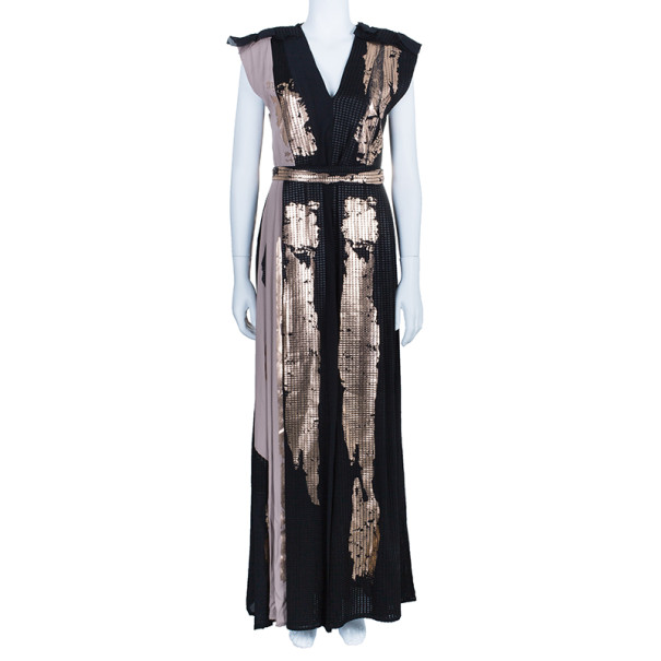 Bottega Veneta Metallic Chiffon and Georgette Gown S