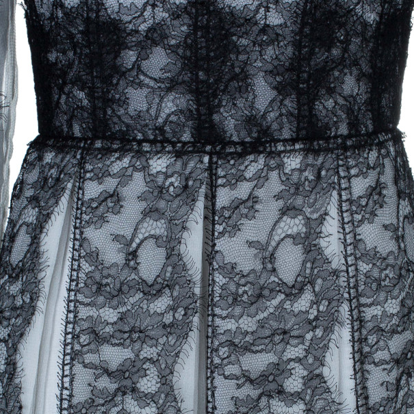 Dolce and Gabbana Monochrome Lace Silk Blend Organza Gown M
