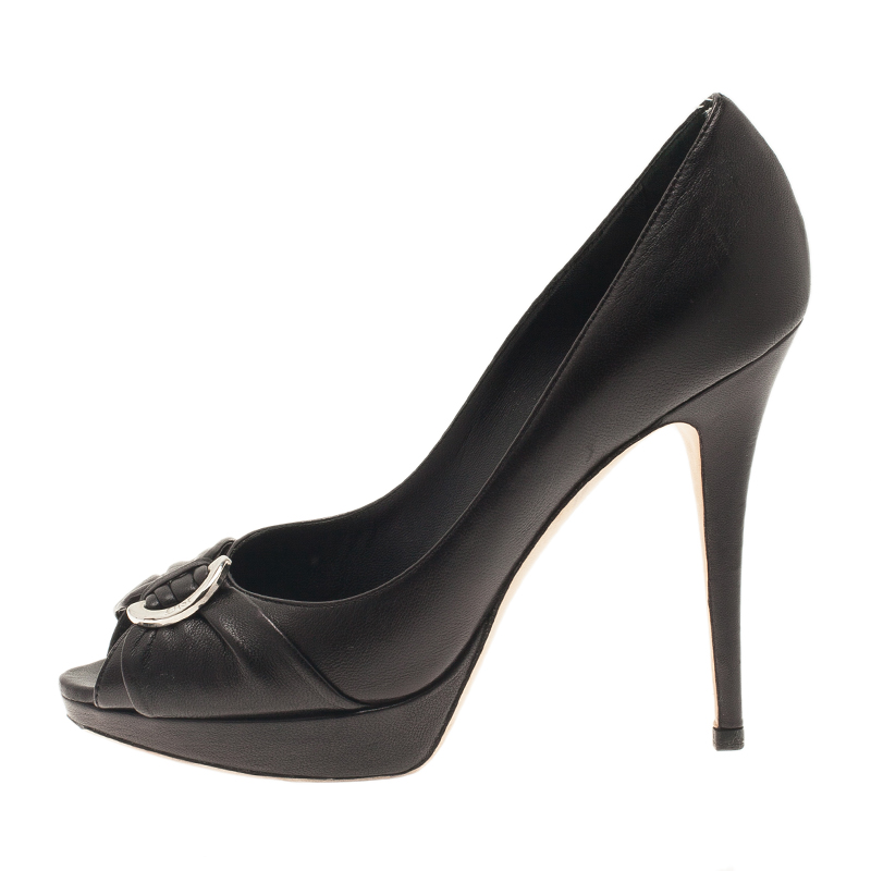 Dior Black Leather Peep Toe Pumps Size 38